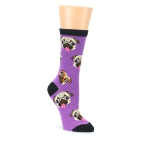 Wisteria Purple Cool Pugs Womens Dress Socks Oooh Yeah Socks