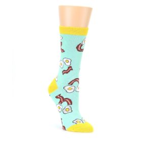 Mint Bacon and Eggs Breakfast Womens Dress Socks Oooh Yeah Socks