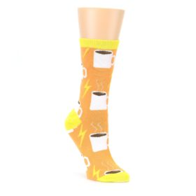 Orange White Coffee Cups Womens Dress Socks Oooh Yeah Socks