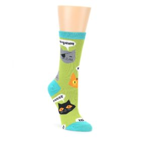Lime Green Talking Cats Womens Dress Socks Oooh Yeah Socks