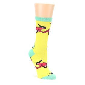 Yellow Mint Mopeds Womens Dress Socks Oooh Yeah Socks
