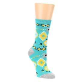 Teal Yellow Grey Patterned Womens Dress Socks Sock It Up