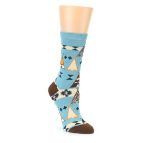 Blue Brown Diamond Pattern Womens Dress Socks Sock It Up