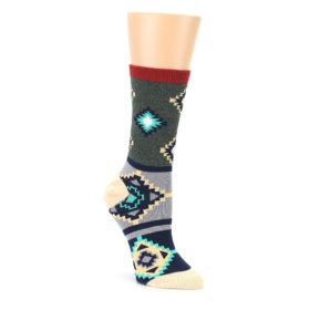 Green Blue Canary Diamond Pattern Womens Dress Socks Sock It Up