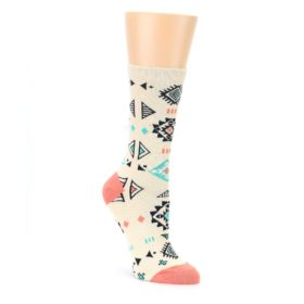 Coral Tan Diamonds Tribal Pattern Womens Dress Socks Sock It Up