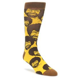 Yellow Brown Bob Ross Mens Dress Socks Oooh Yeah Socks