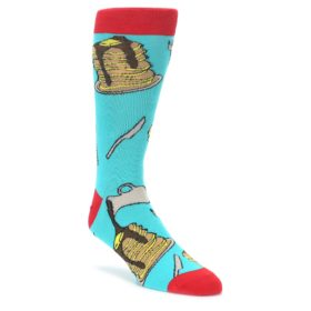 Teal Red Breakfast Pancakes Mens Dress Socks Oooh Yeah Socks