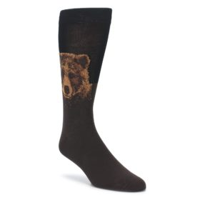 Brown Black Grizzly Bear Mens Dress Socks Socksmith