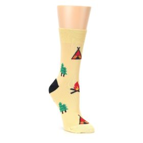 Tan Camping Fire Womens Dress Socks Good Luck Sock
