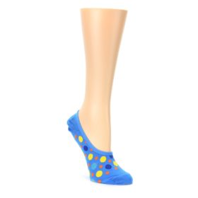 Blue Multicolored Dots Womens No Show Liner Socks Ozone Socks