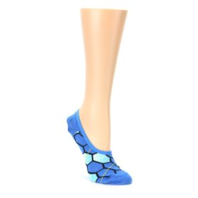 Blue Honeycomb Pattern Womens No Show Liner Socks Ozone Socks