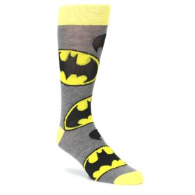Grey Yellow Batman Logo Men's Casual Socks