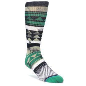 Green Black Triangle Pattern Men's Casual Socks
