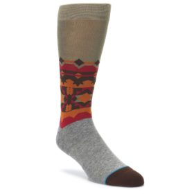 Grey Orange Tribal Pattern Men's Casual Socks