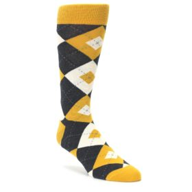 Mustard Yellow Grey Argyle Mens Dress Statement Sockwear