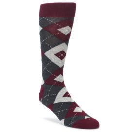 Wine Burgundy Grey Argyle Men's Dress Socks