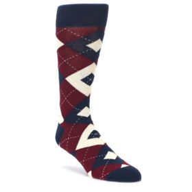 Burgundy Navy Argyle Men's Dress Socks