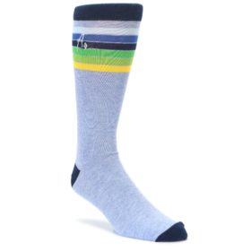 Light-Blue-Navy-Multi-Stripe-XL-Mens-Dress-Socks-Argoz