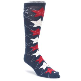 Navy Red White Stars XL Mens Dress Socks Argoz