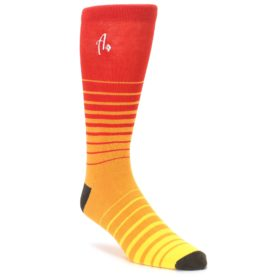 Orange Yellow Sunset Stripe XL Mens Dress Socks Argoz