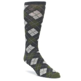 Green Grey Argyle XL Men's Dress Socks