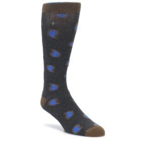 Charcoal Brown Blue Paisley XL Men's Dress Socks