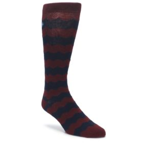 Maroon Navy Chevron Stripe XL Mens Dress Socks Argoz
