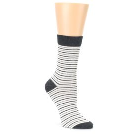 Heather White Stripes Womens Dress Socks PACT