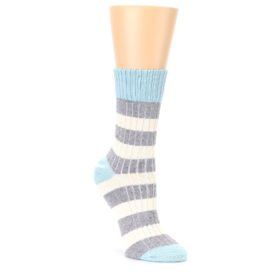 Blue Grey Cream Stripes Womens Dress Socks PACT