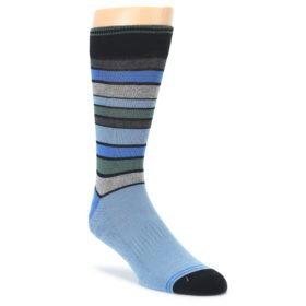 Light Blue Greys Stripes Mens Dress Socks PACT