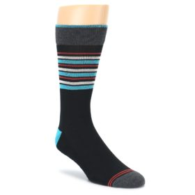 Black Blue Orange Stripes Mens Dress Socks PACT