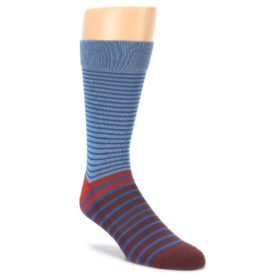Blue Brown striped Mens Dress Socks PACT