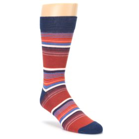Navy Orange stripes Mens Dress Socks PACT