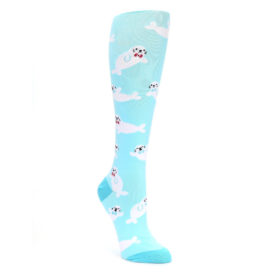 Light Blue Baby Seals Women's Knee High Sock