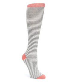 Orange Grey White Stripes Women's Knee High Socks