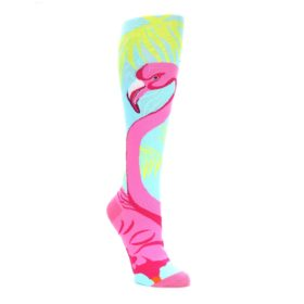 Light-Blue-Pink-Flamingo-Womens-Knee-High-Socks-K-Bell-Socks
