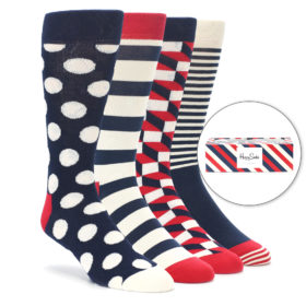 Navy Red White Stripe Mens Dress Socks Gift Box 4 Pack Happy Socks