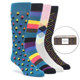 23889-Black-Multi-Color-Diamond-Stripe-Mens-Dress-Socks-Gift-Box-4-Pack-Happy-Socks01