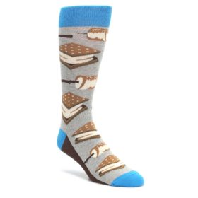 Gray-Brown-Marshmallow-Smores-Mens-Dress-Socks-Statement-Sockwear