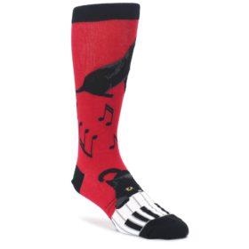 Red Black Piano Cat Mens Dress Socks Mod Sock