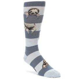 Gray Sloth Stripe Mens Dress Socks Mod Sock