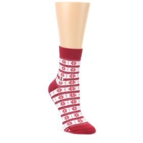 Red Fair Isle Fights HIV Womens Dress Socks Conscious Step