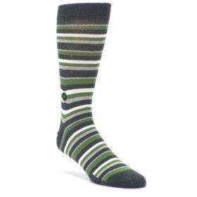 Green Gray Stripe Disaster Relief Men's Dress Socks