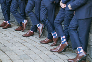 Pink and Navy Blue Groomsmen Socks