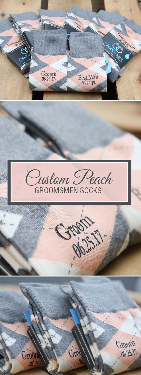 Peach Custom Print Groomsmen Dress Socks