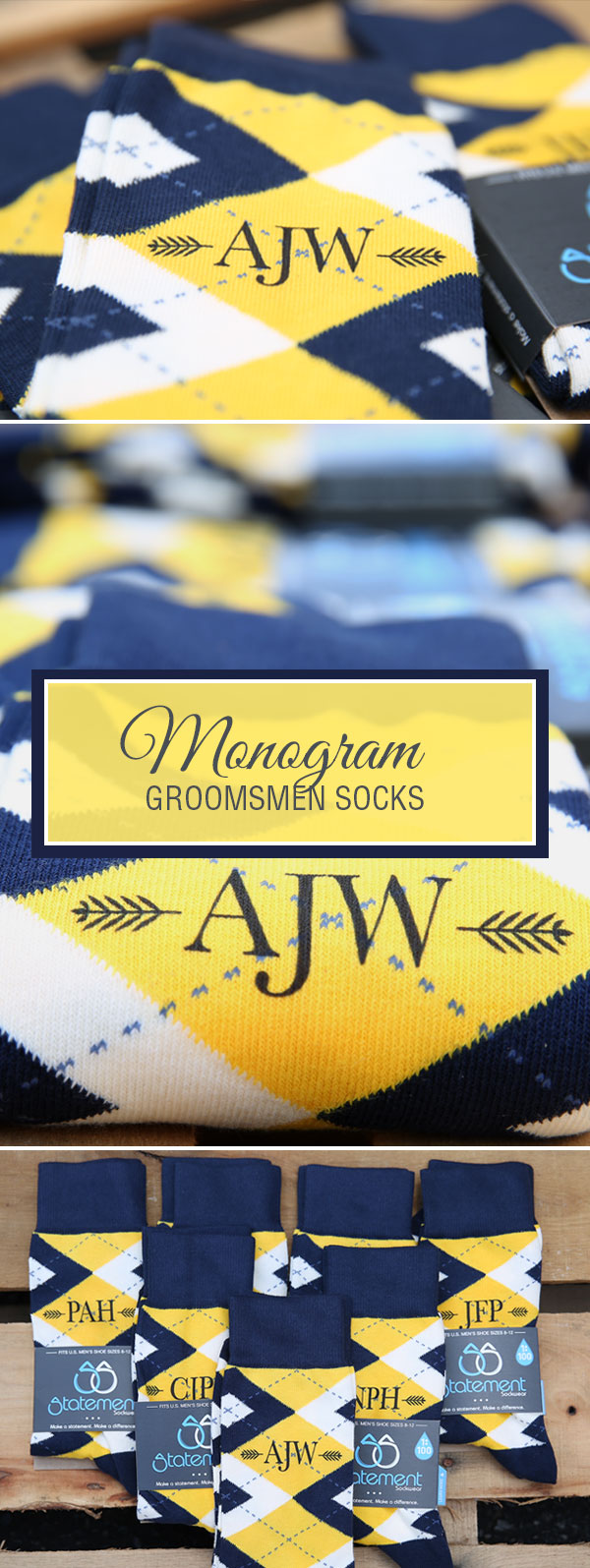 Monogram Golden Yellow Navy Argyle Men's Dress Socks