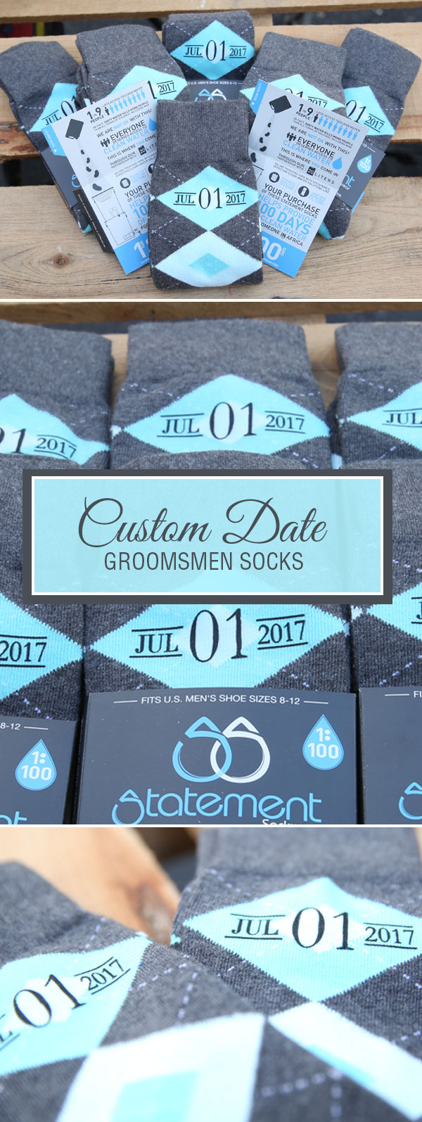 Turquoise Pool and Gray Argyle Customized Date Groomsmen Dress Socks