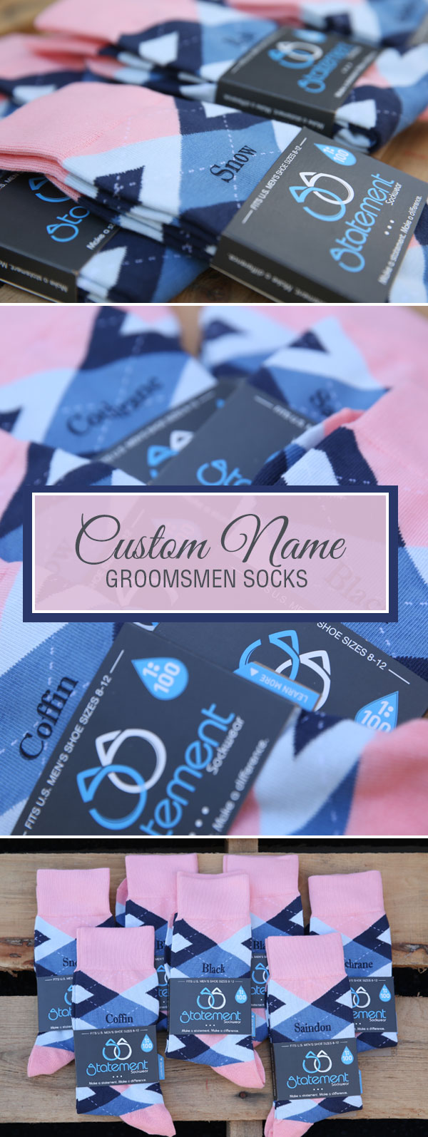 Pink and Blue Argyle Customized Text Groomsmen Dress Socks