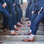 Coral and Gray Wedding Groomsmen Dress Socks