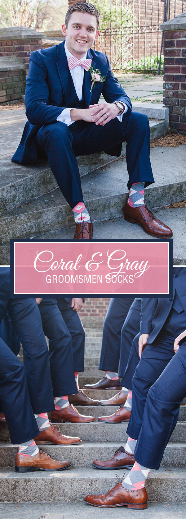Coral and Gray Wedding Groomsmen Dress Socks
